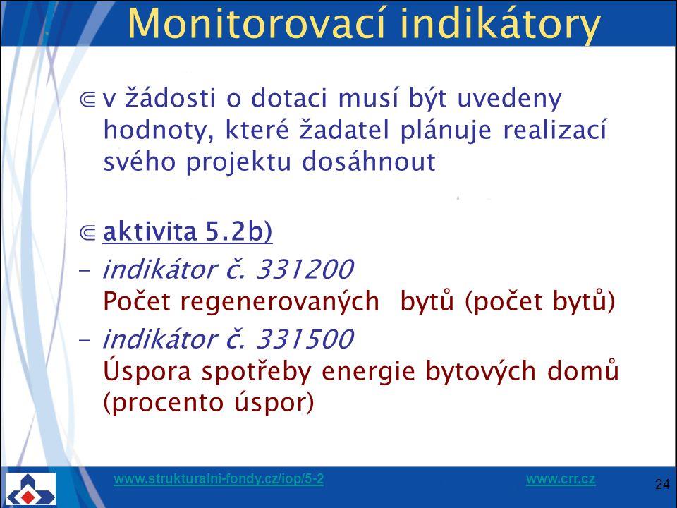 www.strukturalni-fondy.cz/iop/5-2www.strukturalni-fondy.cz/iop/5-2 www.crr.czwww.crr.cz 24 Monitorovací indikátory ⋐v žádosti o dotaci musí být uvedeny hodnoty, které žadatel plánuje realizací svého projektu dosáhnout ⋐aktivita 5.2b) - indikátor č.