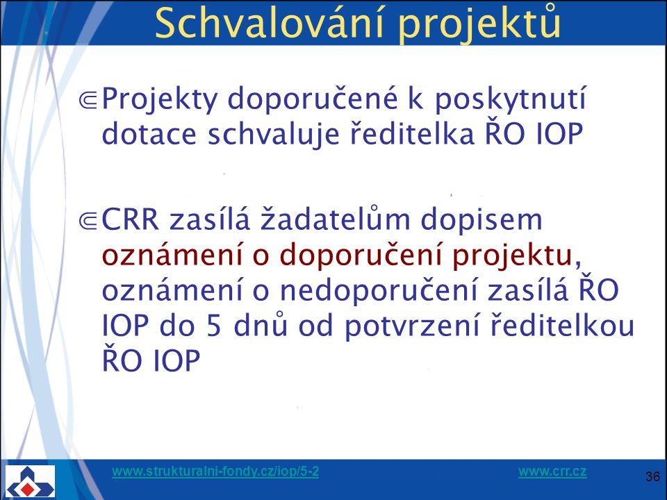 www.strukturalni-fondy.cz/iop/5-2www.strukturalni-fondy.cz/iop/5-2 www.crr.czwww.crr.cz 36 Schvalování projektů ⋐Projekty doporučené k poskytnutí dotace schvaluje ředitelka ŘO IOP ⋐CRR zasílá žadatelům dopisem oznámení o doporučení projektu, oznámení o nedoporučení zasílá ŘO IOP do 5 dnů od potvrzení ředitelkou ŘO IOP