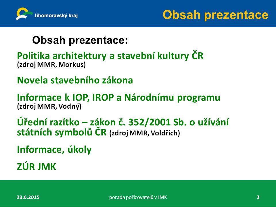 MINISTERSTVO PRO MÍSTNÍ ROZVOJ ČR Ing.arch. Josef Morkus, Ph.D.
