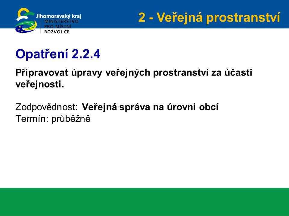 Připravovat úpravy veřejných prostranství za účasti veřejnosti. Zodpovědnost: Veřejná správa na úrovni obcí Termín: průběžně Opatření 2.2.4 2 - Veřejn