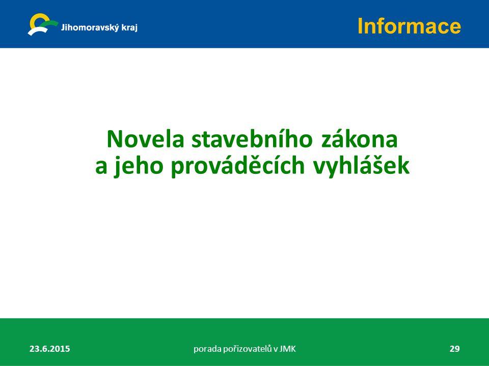Novela stavebního zákona a jeho prováděcích vyhlášek Informace 23.6.2015porada pořizovatelů v JMK29
