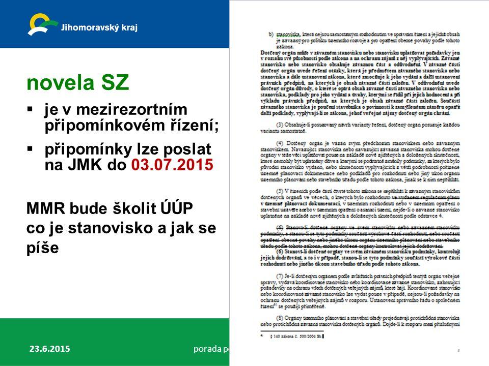 23.6.2015porada pořizovatelů v JMK30 Novela SZ novela SZ  je v mezirezortním připomínkovém řízení;  připomínky lze poslat na JMK do 03.07.2015 MMR bude školit ÚÚP co je stanovisko a jak se píše