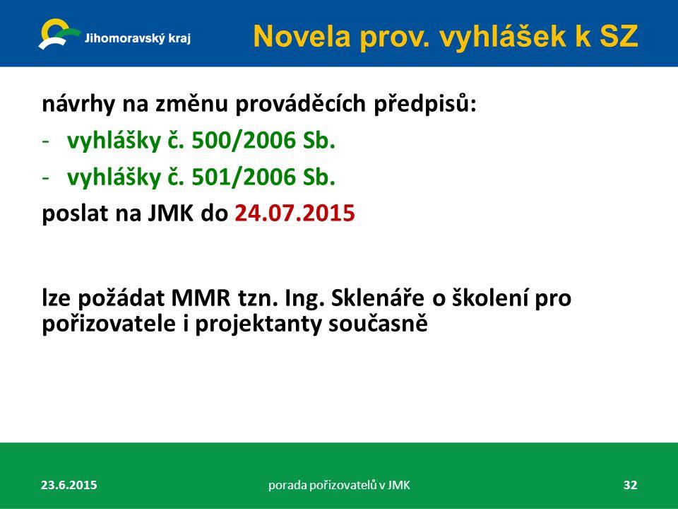 návrhy na změnu prováděcích předpisů: -vyhlášky č. 500/2006 Sb. -vyhlášky č. 501/2006 Sb. poslat na JMK do 24.07.2015 lze požádat MMR tzn. Ing. Sklená