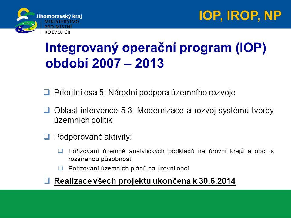  Prioritní osa 5: Národní podpora územního rozvoje  Oblast intervence 5.3: Modernizace a rozvoj systémů tvorby územních politik  Podporované aktivity:  Pořizování územně analytických podkladů na úrovni krajů a obcí s rozšířenou působností  Pořizování územních plánů na úrovni obcí  Realizace všech projektů ukončena k 30.6.2014 Integrovaný operační program (IOP) období 2007 – 2013 IOP, IROP, NP