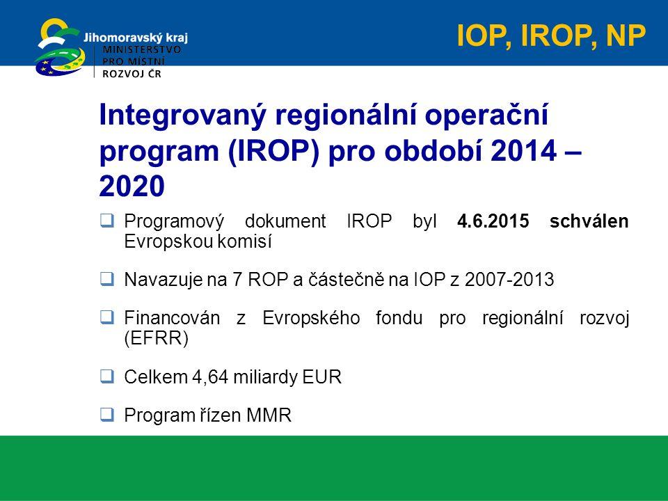 Integrovaný regionální operační program (IROP) pro období 2014 – 2020  Programový dokument IROP byl 4.6.2015 schválen Evropskou komisí  Navazuje na