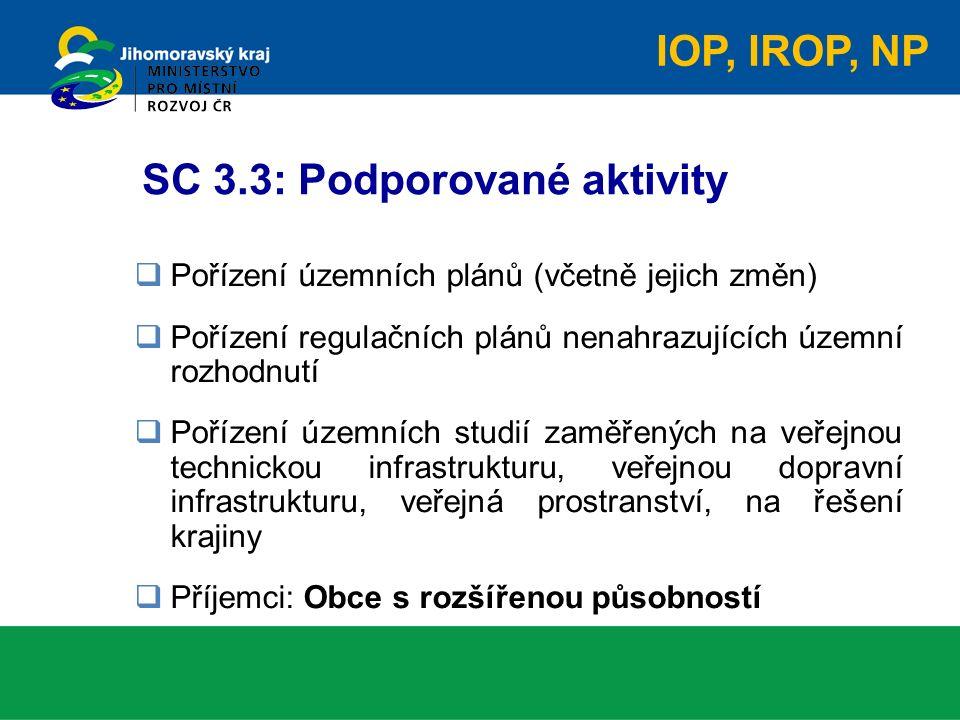 SC 3.3: Podporované aktivity  Pořízení územních plánů (včetně jejich změn)  Pořízení regulačních plánů nenahrazujících územní rozhodnutí  Pořízení územních studií zaměřených na veřejnou technickou infrastrukturu, veřejnou dopravní infrastrukturu, veřejná prostranství, na řešení krajiny  Příjemci: Obce s rozšířenou působností IOP, IROP, NP