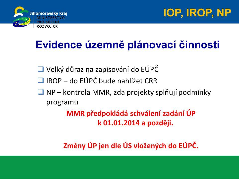Evidence územně plánovací činnosti  Velký důraz na zapisování do EÚPČ  IROP – do EÚPČ bude nahlížet CRR  NP – kontrola MMR, zda projekty splňují podmínky programu MMR předpokládá schválení zadání ÚP k 01.01.2014 a později.