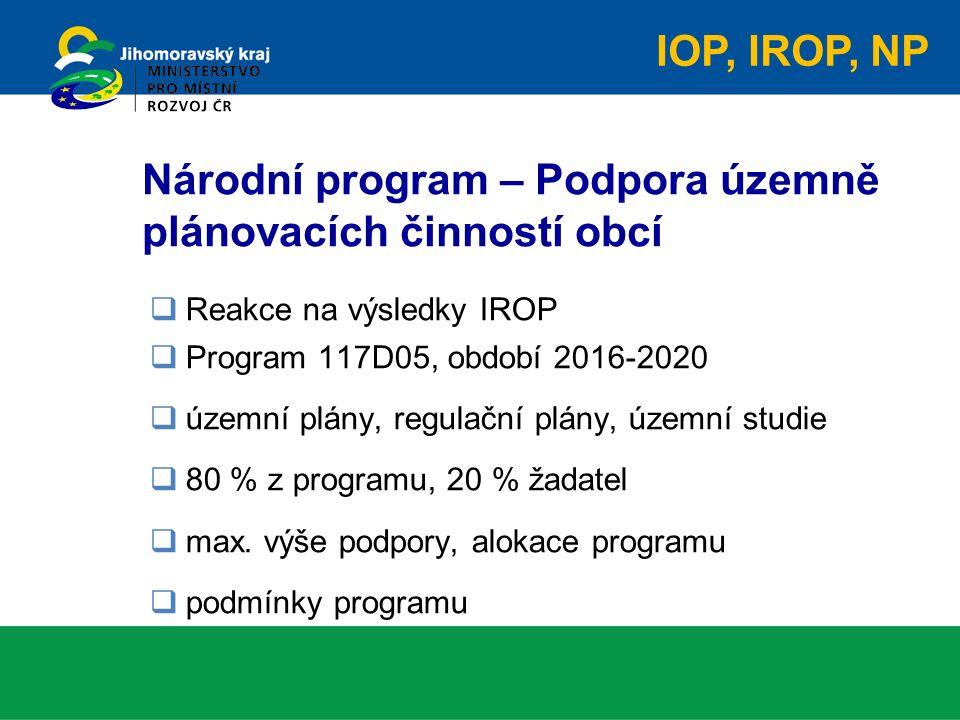 Národní program – Podpora územně plánovacích činností obcí  Reakce na výsledky IROP  Program 117D05, období 2016-2020  územní plány, regulační plány, územní studie  80 % z programu, 20 % žadatel  max.