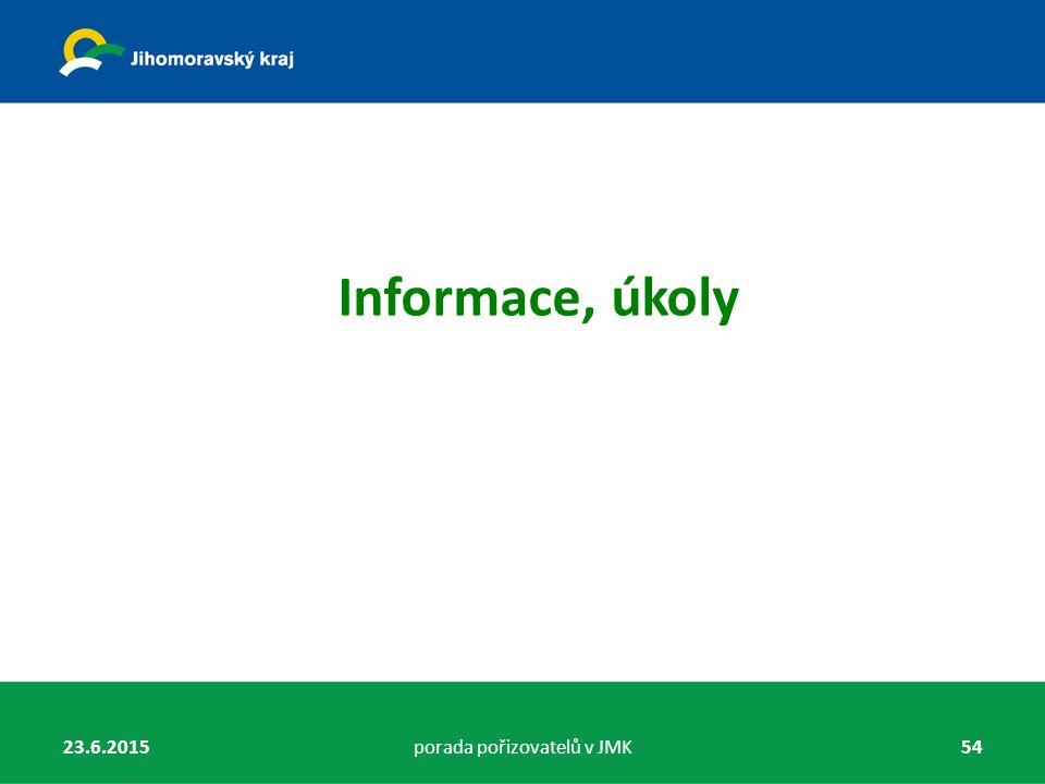 Informace, úkoly 23.6.2015porada pořizovatelů v JMK54