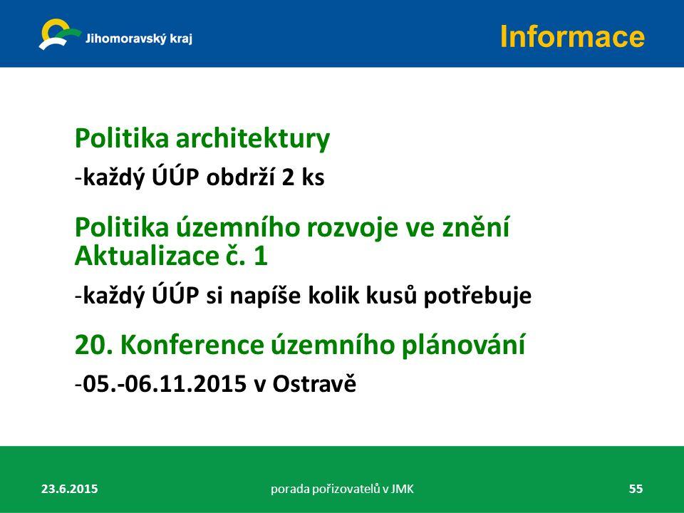 Politika architektury -každý ÚÚP obdrží 2 ks Politika územního rozvoje ve znění Aktualizace č. 1 -každý ÚÚP si napíše kolik kusů potřebuje 20. Konfere
