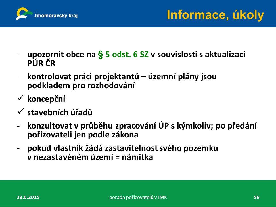 -upozornit obce na § 5 odst. 6 SZ v souvislosti s aktualizaci PÚR ČR -kontrolovat práci projektantů – územní plány jsou podkladem pro rozhodování konc