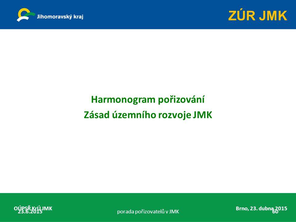 Harmonogram pořizování Zásad územního rozvoje JMK OÚPSŘ KrÚ JMK Brno, 23. dubna 2015 23.6.2015porada pořizovatelů v JMK60 ZÚR JMK