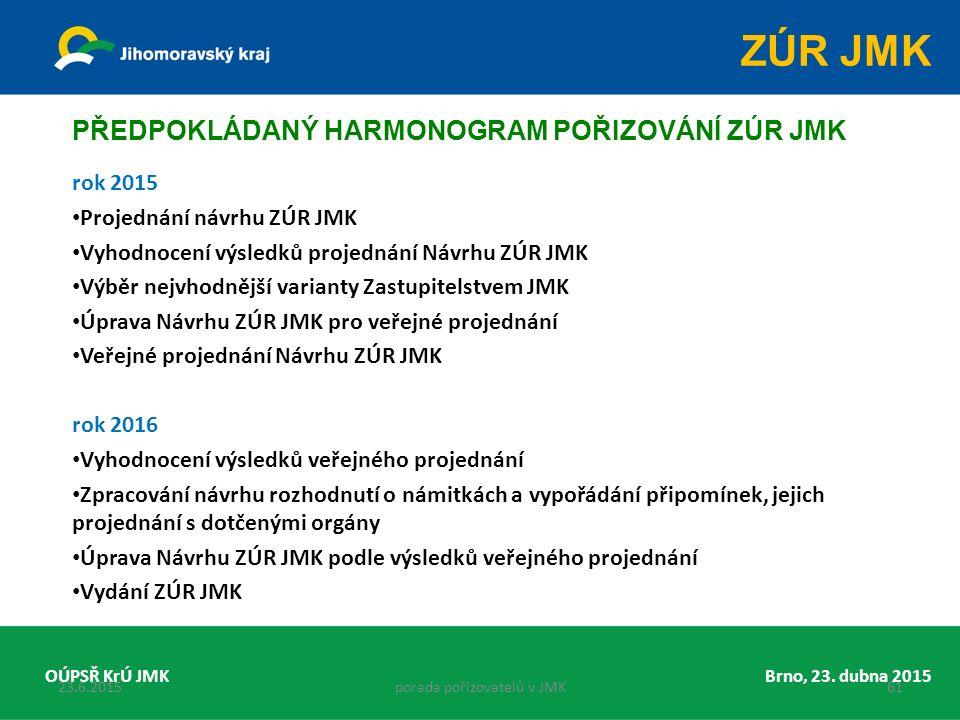 rok 2015 Projednání návrhu ZÚR JMK Vyhodnocení výsledků projednání Návrhu ZÚR JMK Výběr nejvhodnější varianty Zastupitelstvem JMK Úprava Návrhu ZÚR JMK pro veřejné projednání Veřejné projednání Návrhu ZÚR JMK rok 2016 Vyhodnocení výsledků veřejného projednání Zpracování návrhu rozhodnutí o námitkách a vypořádání připomínek, jejich projednání s dotčenými orgány Úprava Návrhu ZÚR JMK podle výsledků veřejného projednání Vydání ZÚR JMK Brno, 23.