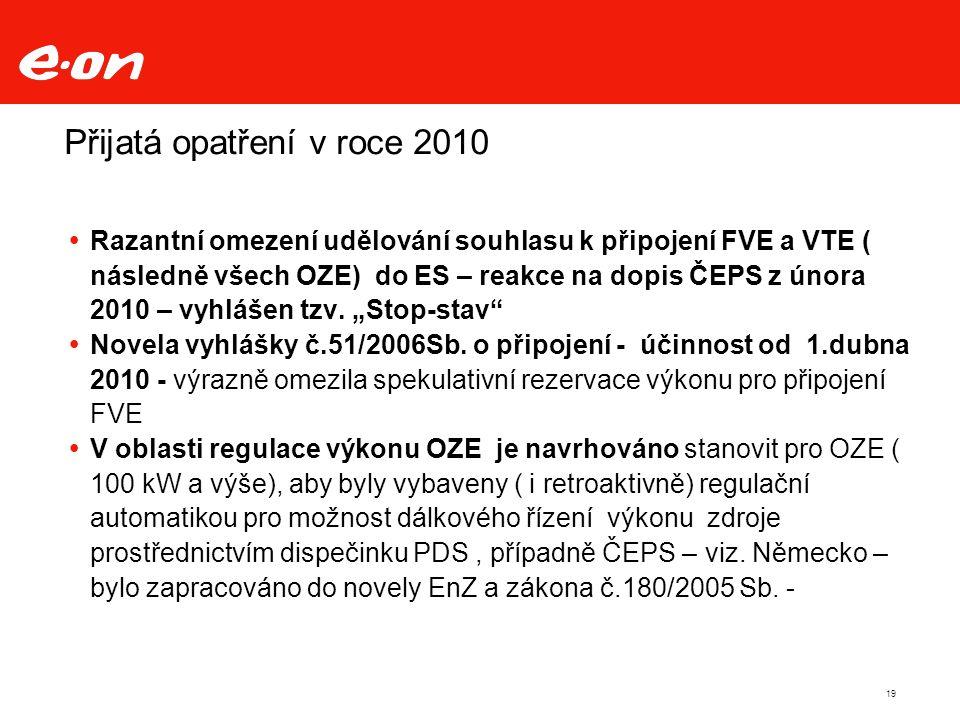 Přijatá opatření v roce 2010  Razantní omezení udělování souhlasu k připojení FVE a VTE ( následně všech OZE) do ES – reakce na dopis ČEPS z února 2010 – vyhlášen tzv.