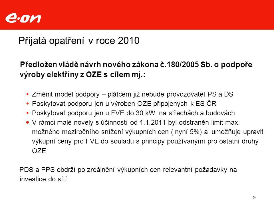 Přijatá opatření v roce 2010 Předložen vládě návrh nového zákona č.180/2005 Sb.