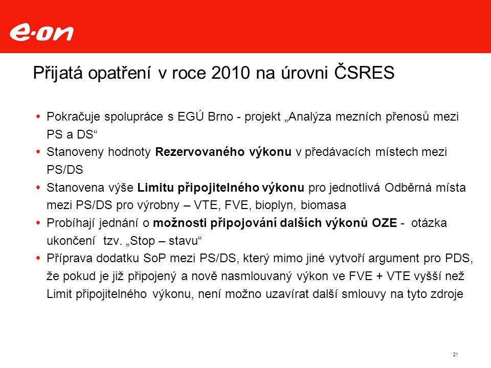 """Přijatá opatření v roce 2010 na úrovni ČSRES  Pokračuje spolupráce s EGÚ Brno - projekt """"Analýza mezních přenosů mezi PS a DS  Stanoveny hodnoty Rezervovaného výkonu v předávacích místech mezi PS/DS  Stanovena výše Limitu připojitelného výkonu pro jednotlivá Odběrná místa mezi PS/DS pro výrobny – VTE, FVE, bioplyn, biomasa  Probíhají jednání o možnosti připojování dalších výkonů OZE - otázka ukončení tzv."""