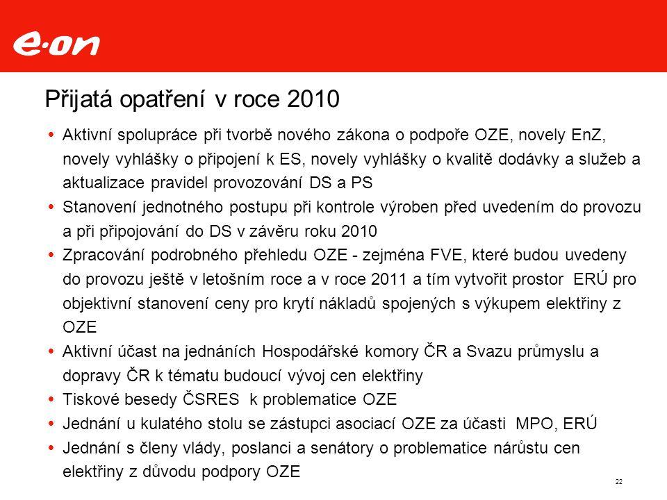 Přijatá opatření v roce 2010  Aktivní spolupráce při tvorbě nového zákona o podpoře OZE, novely EnZ, novely vyhlášky o připojení k ES, novely vyhlášky o kvalitě dodávky a služeb a aktualizace pravidel provozování DS a PS  Stanovení jednotného postupu při kontrole výroben před uvedením do provozu a při připojování do DS v závěru roku 2010  Zpracování podrobného přehledu OZE - zejména FVE, které budou uvedeny do provozu ještě v letošním roce a v roce 2011 a tím vytvořit prostor ERÚ pro objektivní stanovení ceny pro krytí nákladů spojených s výkupem elektřiny z OZE  Aktivní účast na jednáních Hospodářské komory ČR a Svazu průmyslu a dopravy ČR k tématu budoucí vývoj cen elektřiny  Tiskové besedy ČSRES k problematice OZE  Jednání u kulatého stolu se zástupci asociací OZE za účasti MPO, ERÚ  Jednání s členy vlády, poslanci a senátory o problematice nárůstu cen elektřiny z důvodu podpory OZE 22
