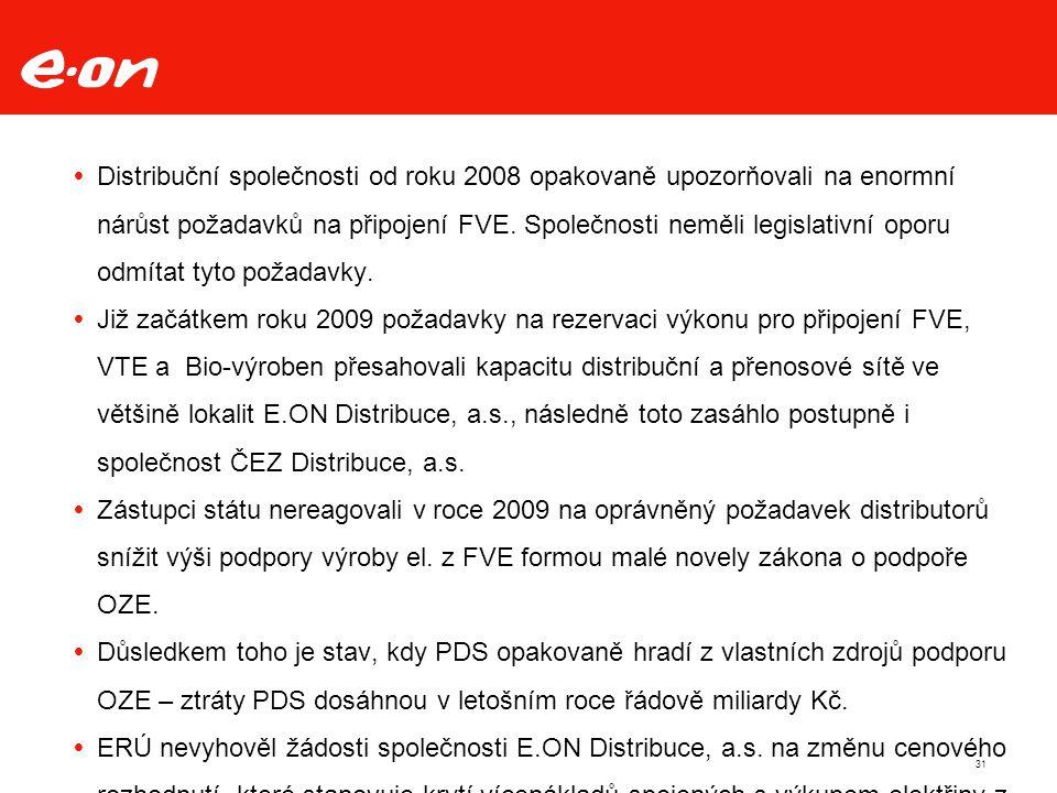  Distribuční společnosti od roku 2008 opakovaně upozorňovali na enormní nárůst požadavků na připojení FVE.