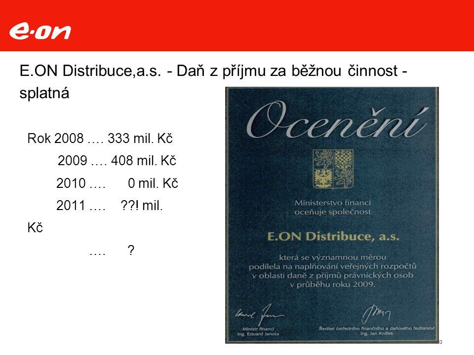 E.ON Distribuce,a.s. - Daň z příjmu za běžnou činnost - splatná 33 Rok 2008 ….