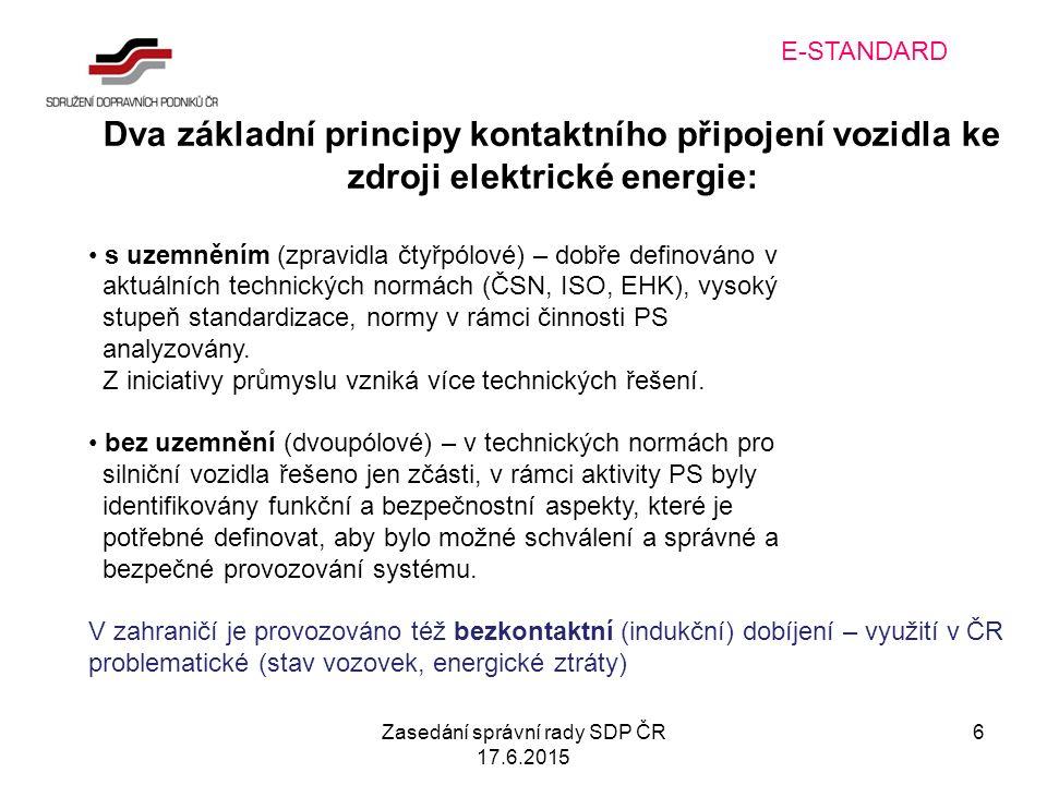 Zasedání správní rady SDP ČR 17.6.2015 6 E-STANDARD Dva základní principy kontaktního připojení vozidla ke zdroji elektrické energie: s uzemněním (zpravidla čtyřpólové) – dobře definováno v aktuálních technických normách (ČSN, ISO, EHK), vysoký stupeň standardizace, normy v rámci činnosti PS analyzovány.