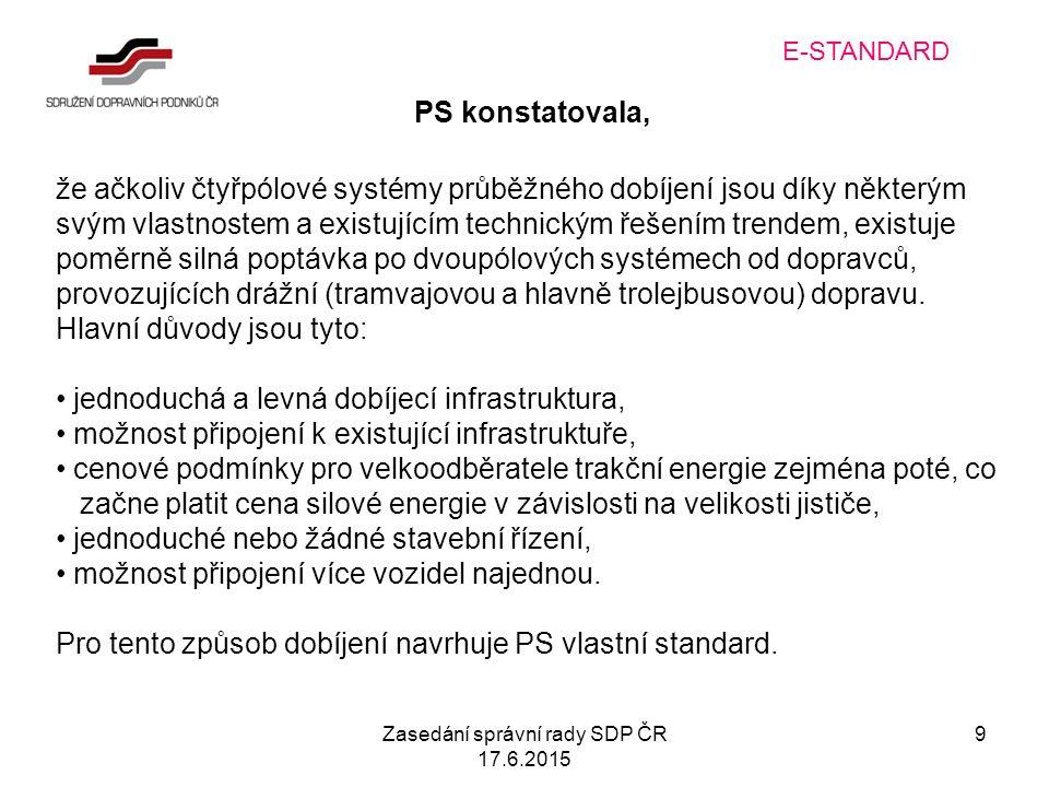 Zasedání správní rady SDP ČR 17.6.2015 9 E-STANDARD PS konstatovala, že ačkoliv čtyřpólové systémy průběžného dobíjení jsou díky některým svým vlastnostem a existujícím technickým řešením trendem, existuje poměrně silná poptávka po dvoupólových systémech od dopravců, provozujících drážní (tramvajovou a hlavně trolejbusovou) dopravu.
