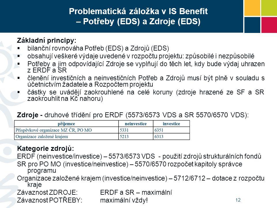 Problematická záložka v IS Benefit – Potřeby (EDS) a Zdroje (EDS) Základní principy:  bilanční rovnováha Potřeb (EDS) a Zdrojů (EDS)  obsahují veškeré výdaje uvedené v rozpočtu projektu: způsobilé i nezpůsobilé  Potřeby a jim odpovídající Zdroje se vyplňují do těch let, kdy bude výdaj uhrazen z ERDF a SR  členění investičních a neinvestičních Potřeb a Zdrojů musí být plně v souladu s účetnictvím žadatele a Rozpočtem projektu  částky se uvádějí zaokrouhlené na celé koruny (zdroje hrazené ze SF a SR zaokrouhlit na Kč nahoru) Zdroje - druhové třídění pro ERDF (5573/6573 VDS a SR 5570/6570 VDS): Kategorie zdrojů: ERDF (neinvestice/investice) – 5573/6573 VDS - použití zdrojů strukturálních fondů SR pro PO MO (investice/neinvestice) – 5570/6570 rozpočet kapitoly správce programu Organizace založené krajem (investice/neinvestice) – 5712/6712 – dotace z rozpočtu kraje Závaznost ZDROJE:ERDF a SR – maximální Závaznost POTŘEBY: maximální vždy.