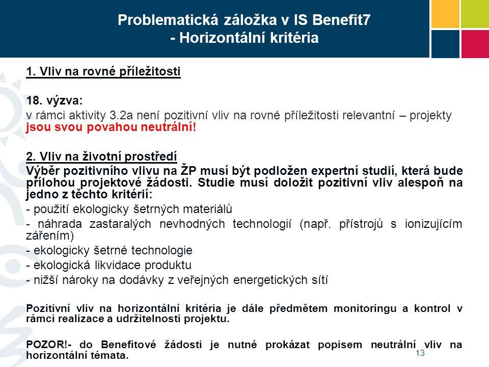 Problematická záložka v IS Benefit7 - Horizontální kritéria 1. Vliv na rovné příležitosti 18. výzva: v rámci aktivity 3.2a není pozitivní vliv na rovn
