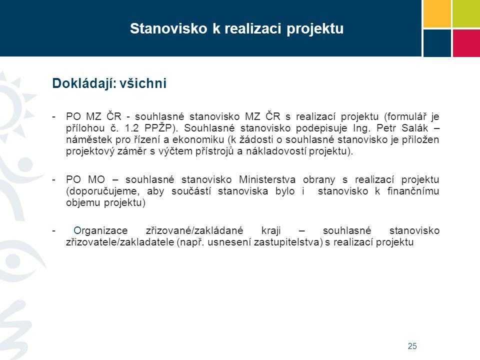 25 Stanovisko k realizaci projektu Dokládají: všichni -PO MZ ČR - souhlasné stanovisko MZ ČR s realizací projektu (formulář je přílohou č. 1.2 PPŽP).