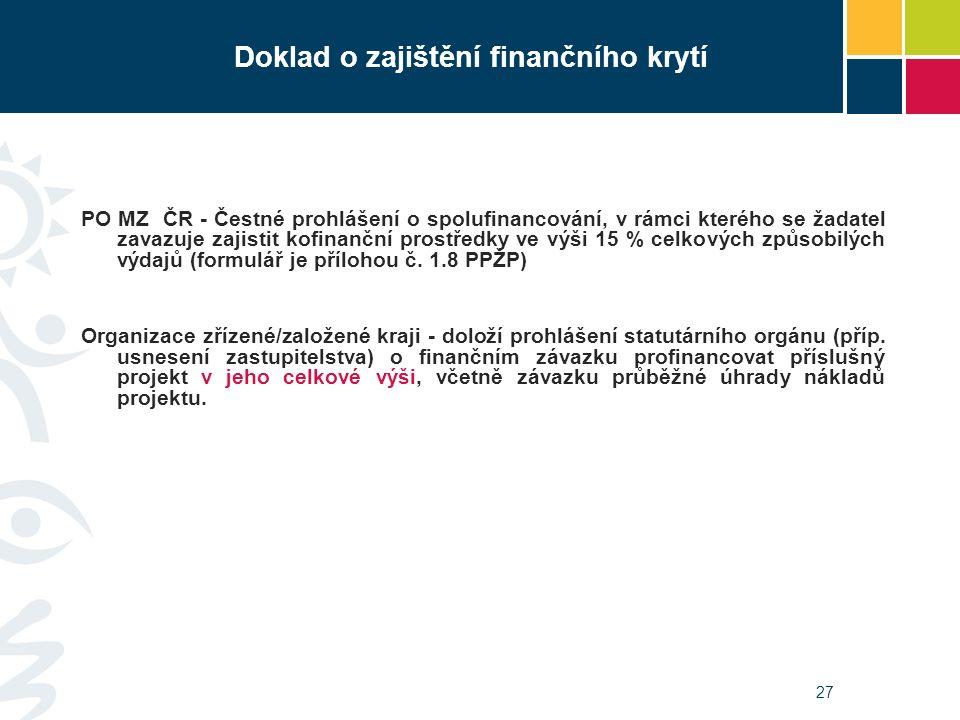 27 Doklad o zajištění finančního krytí PO MZ ČR - Čestné prohlášení o spolufinancování, v rámci kterého se žadatel zavazuje zajistit kofinanční prostř