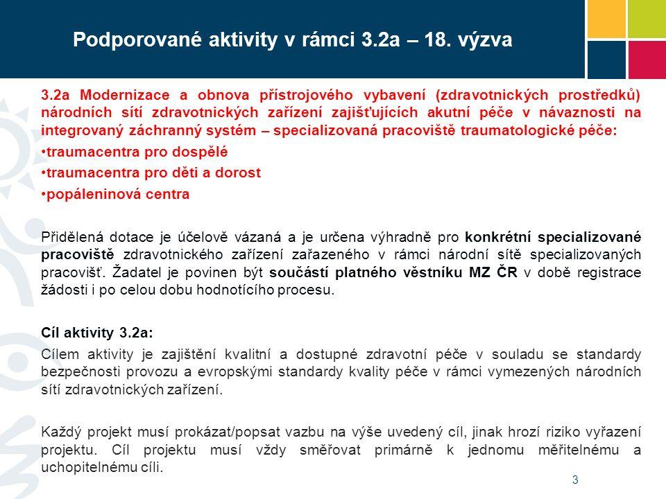 3 Podporované aktivity v rámci 3.2a – 18. výzva 3.2a Modernizace a obnova přístrojového vybavení (zdravotnických prostředků) národních sítí zdravotnic