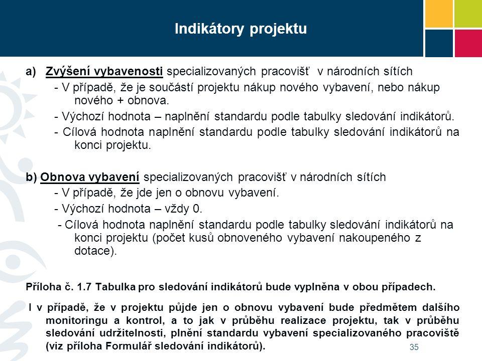 Indikátory projektu  Zvýšení vybavenosti specializovaných pracovišť v národních sítích - V případě, že je součástí projektu nákup nového vybavení, nebo nákup nového + obnova.