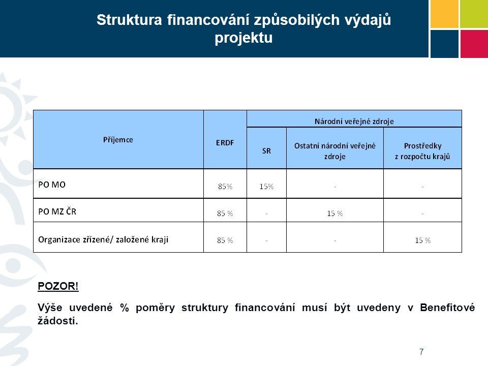 Struktura financování způsobilých výdajů projektu 7 POZOR! Výše uvedené % poměry struktury financování musí být uvedeny v Benefitové žádosti.