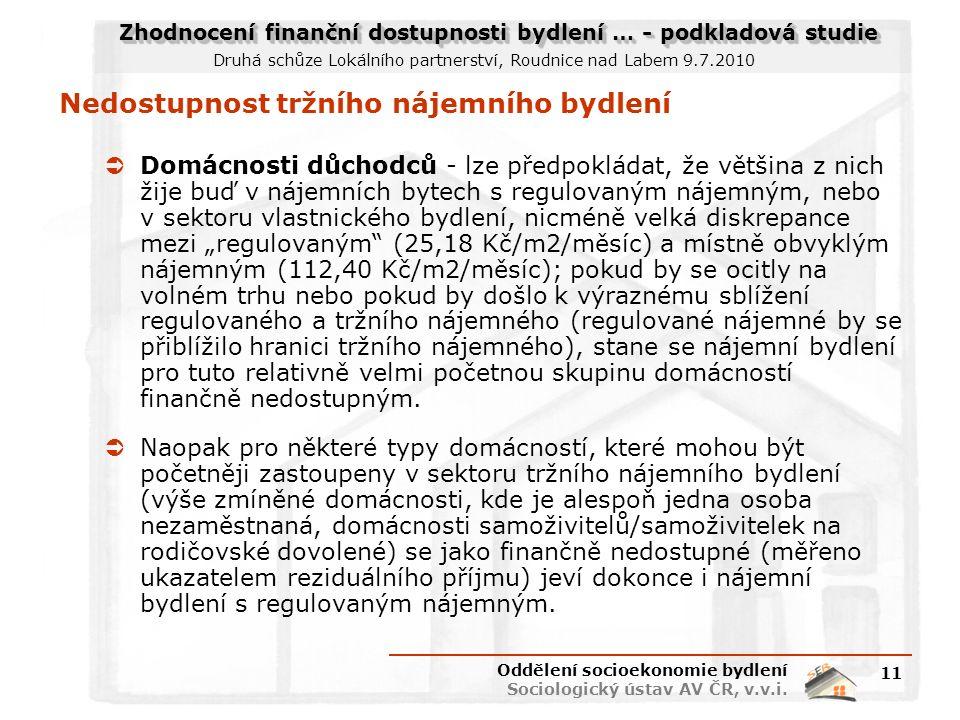 """Zhodnocení finanční dostupnosti bydlení … - podkladová studie Druhá schůze Lokálního partnerství, Roudnice nad Labem 9.7.2010 Nedostupnost tržního nájemního bydlení  Domácnosti důchodců - lze předpokládat, že většina z nich žije buď v nájemních bytech s regulovaným nájemným, nebo v sektoru vlastnického bydlení, nicméně velká diskrepance mezi """"regulovaným (25,18 Kč/m2/měsíc) a místně obvyklým nájemným (112,40 Kč/m2/měsíc); pokud by se ocitly na volném trhu nebo pokud by došlo k výraznému sblížení regulovaného a tržního nájemného (regulované nájemné by se přiblížilo hranici tržního nájemného), stane se nájemní bydlení pro tuto relativně velmi početnou skupinu domácností finančně nedostupným."""