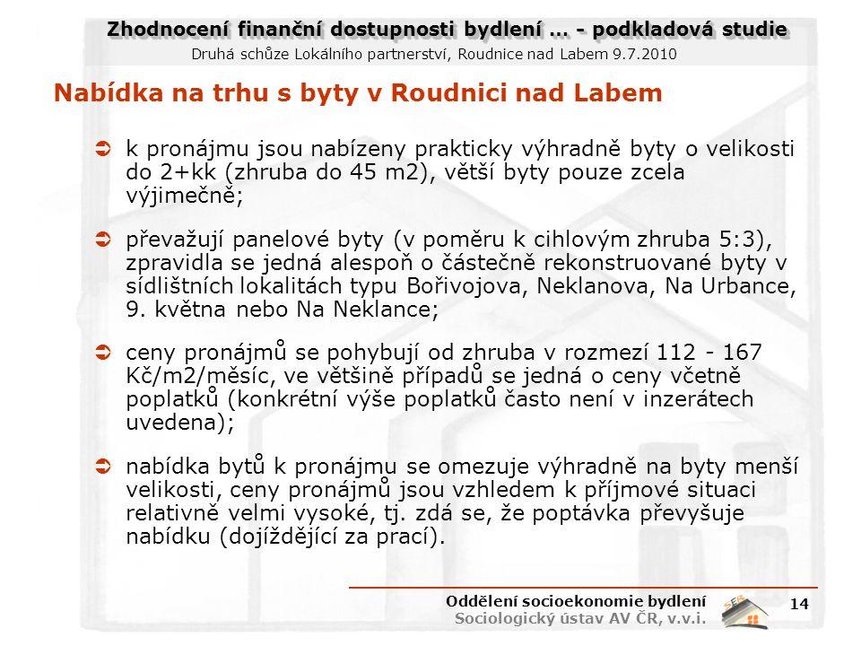 Zhodnocení finanční dostupnosti bydlení … - podkladová studie Druhá schůze Lokálního partnerství, Roudnice nad Labem 9.7.2010 Nabídka na trhu s byty v Roudnici nad Labem  k pronájmu jsou nabízeny prakticky výhradně byty o velikosti do 2+kk (zhruba do 45 m2), větší byty pouze zcela výjimečně;  převažují panelové byty (v poměru k cihlovým zhruba 5:3), zpravidla se jedná alespoň o částečně rekonstruované byty v sídlištních lokalitách typu Bořivojova, Neklanova, Na Urbance, 9.