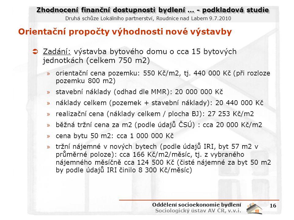Zhodnocení finanční dostupnosti bydlení … - podkladová studie Druhá schůze Lokálního partnerství, Roudnice nad Labem 9.7.2010 Orientační propočty výho