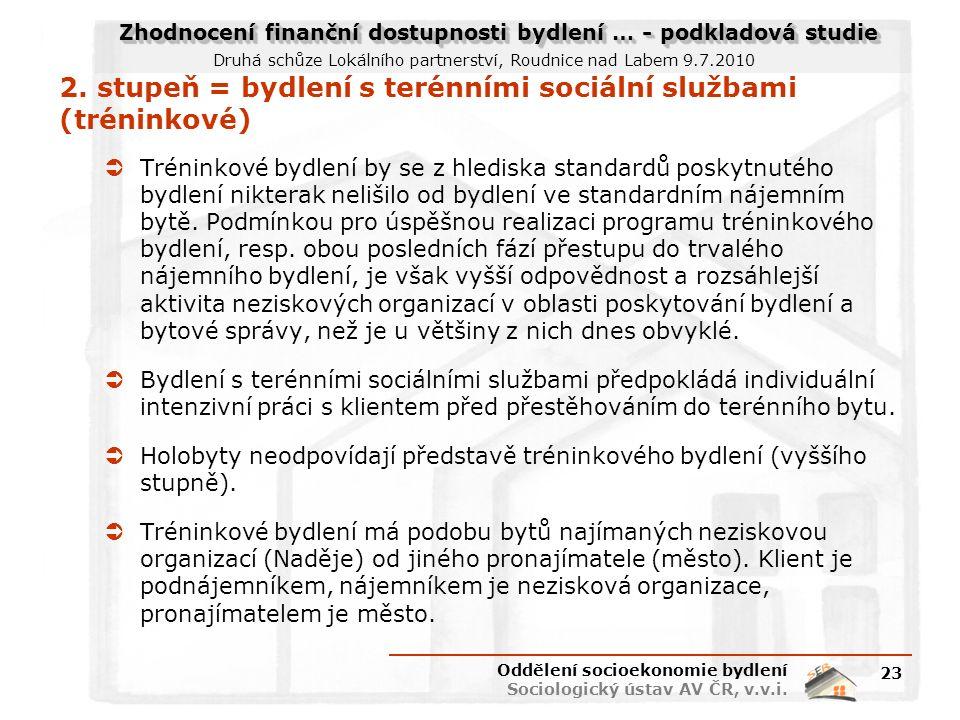 Zhodnocení finanční dostupnosti bydlení … - podkladová studie Druhá schůze Lokálního partnerství, Roudnice nad Labem 9.7.2010 2. stupeň = bydlení s te