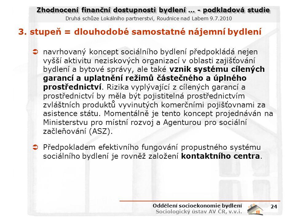 Zhodnocení finanční dostupnosti bydlení … - podkladová studie Druhá schůze Lokálního partnerství, Roudnice nad Labem 9.7.2010 3. stupeň = dlouhodobé s