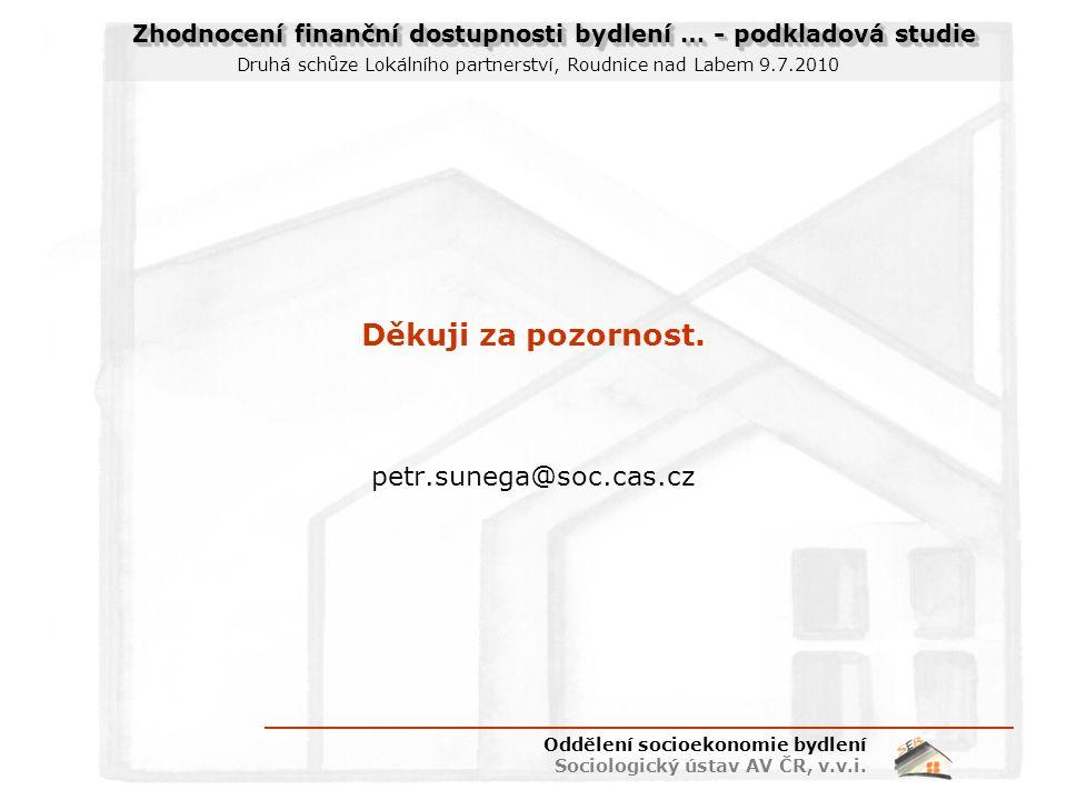 Zhodnocení finanční dostupnosti bydlení … - podkladová studie Druhá schůze Lokálního partnerství, Roudnice nad Labem 9.7.2010 Děkuji za pozornost.