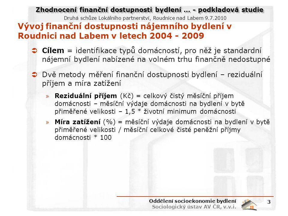 Zhodnocení finanční dostupnosti bydlení … - podkladová studie Druhá schůze Lokálního partnerství, Roudnice nad Labem 9.7.2010 Vývoj finanční dostupnosti nájemního bydlení v Roudnici nad Labem v letech 2004 - 2009  Cílem = identifikace typů domácností, pro něž je standardní nájemní bydlení nabízené na volném trhu finančně nedostupné  Dvě metody měření finanční dostupnosti bydlení – reziduální příjem a míra zatížení » Reziduální příjem (Kč) = celkový čistý měsíční příjem domácnosti – měsíční výdaje domácnosti na bydlení v bytě přiměřené velikosti – 1,5 * životní minimum domácnosti » Míra zatížení (%) = měsíční výdaje domácnosti na bydlení v bytě přiměřené velikosti / měsíční celkové čisté peněžní příjmy domácnosti * 100 Oddělení socioekonomie bydlení Sociologický ústav AV ČR, v.v.i.