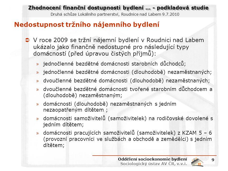 Zhodnocení finanční dostupnosti bydlení … - podkladová studie Druhá schůze Lokálního partnerství, Roudnice nad Labem 9.7.2010 Nedostupnost tržního nájemního bydlení  V roce 2009 se tržní nájemní bydlení v Roudnici nad Labem ukázalo jako finančně nedostupné pro následující typy domácností (před úpravou čistých příjmů): » jednočlenné bezdětné domácnosti starobních důchodců; » jednočlenné bezdětné domácnosti (dlouhodobě) nezaměstnaných; » dvoučlenné bezdětné domácnosti (dlouhodobě) nezaměstnaných; » dvoučlenné bezdětné domácnosti tvořené starobním důchodcem a (dlouhodobě) nezaměstnaným; » domácnosti (dlouhodobě) nezaměstnaných s jedním nezaopatřeným dítětem ; » domácnosti samoživitelů (samoživitelek) na rodičovské dovolené s jedním dítětem; » domácnosti pracujících samoživitelů (samoživitelek) z KZAM 5 – 6 (provozní pracovníci ve službách a obchodě a zemědělci) s jedním dítětem; Oddělení socioekonomie bydlení Sociologický ústav AV ČR, v.v.i.
