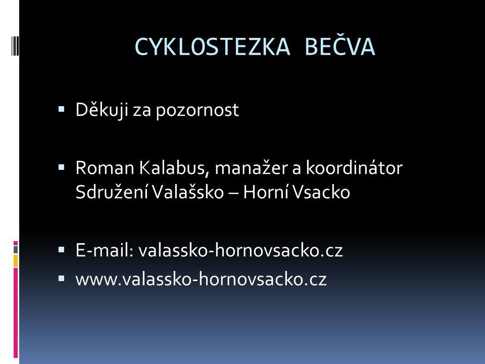 CYKLOSTEZKA BEČVA  Děkuji za pozornost  Roman Kalabus, manažer a koordinátor Sdružení Valašsko – Horní Vsacko  E-mail: valassko-hornovsacko.cz  www.valassko-hornovsacko.cz