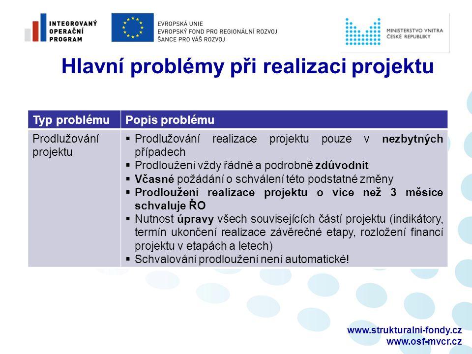 www.strukturalni-fondy.cz www.osf-mvcr.cz Typ problémuPopis problému Prodlužování projektu  Prodlužování realizace projektu pouze v nezbytných případ