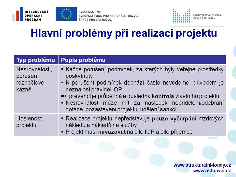 www.strukturalni-fondy.cz www.osf-mvcr.cz Typ problémuPopis problému Nesrovnalosti, porušení rozpočtové kázně  Každé porušení podmínek, za kterých byly veřejné prostředky poskytnuty  K porušení podmínek dochází často nevědomě, důvodem je neznalost pravidel IOP => prevencí je průběžná a důsledná kontrola vlastního projektu  Nesrovnalost může mít za následek nepřidělení/odebrání dotace, pozastavení projektu, udělení sankcí Ucelenost projektu  Realizace projektu nepředstavuje pouze vyčerpání mzdových nákladů a nákladů na služby  Projekt musí navazovat na cíle IOP a cíle příjemce Hlavní problémy při realizaci projektu