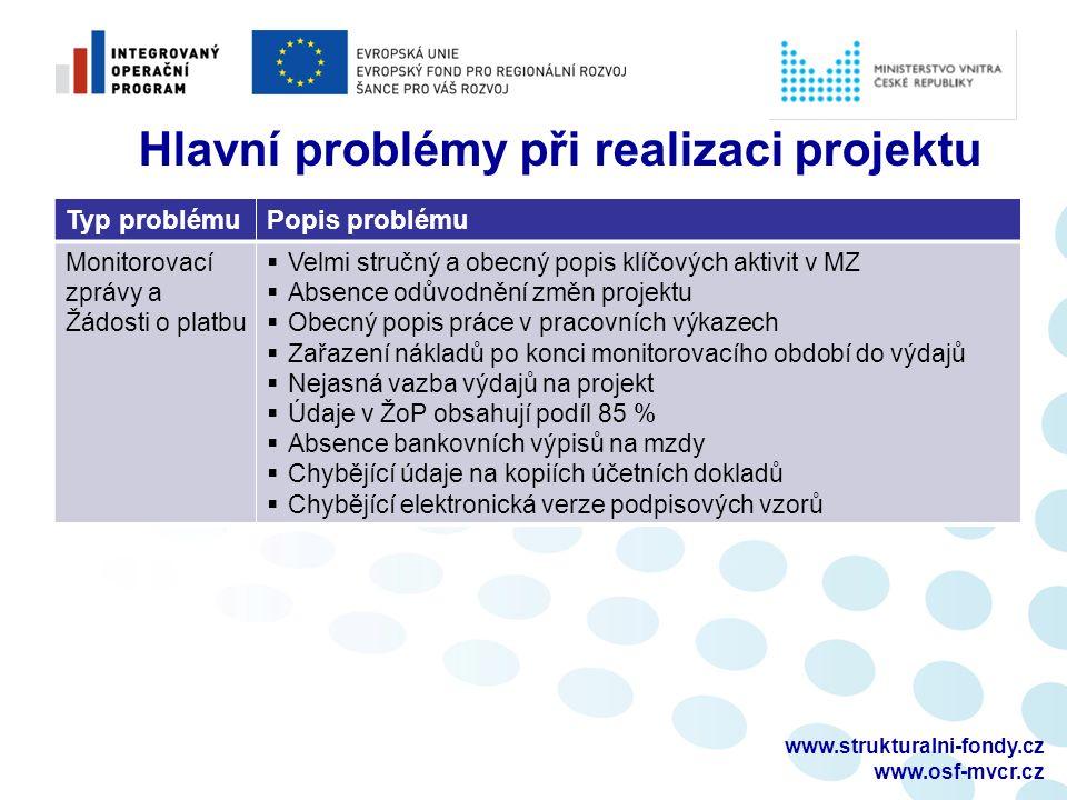 www.strukturalni-fondy.cz www.osf-mvcr.cz Typ problémuPopis problému Monitorovací zprávy a Žádosti o platbu  Velmi stručný a obecný popis klíčových a
