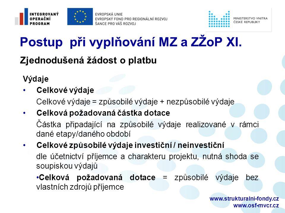 www.strukturalni-fondy.cz www.osf-mvcr.cz Postup při vyplňování MZ a ZŽoP XI. Zjednodušená žádost o platbu Výdaje Celkové výdaje Celkové výdaje = způs