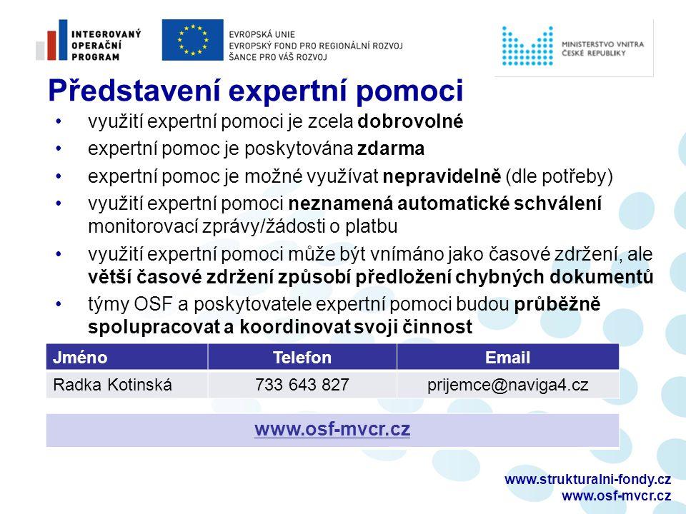 www.strukturalni-fondy.cz www.osf-mvcr.cz Představení expertní pomoci využití expertní pomoci je zcela dobrovolné expertní pomoc je poskytována zdarma