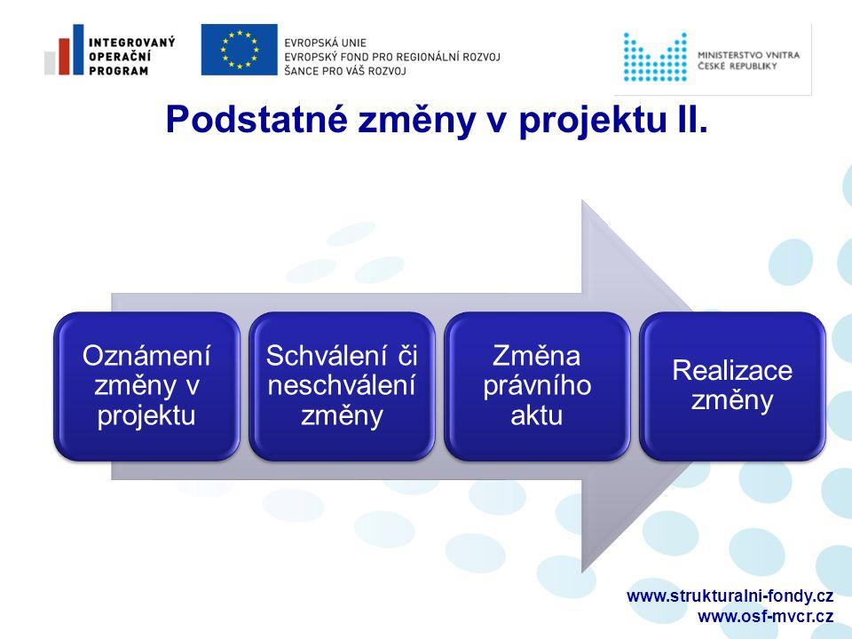 www.strukturalni-fondy.cz www.osf-mvcr.cz Podstatné změny v projektu II. Oznámení změny v projektu Schválení či neschválení změny Změna právního aktu