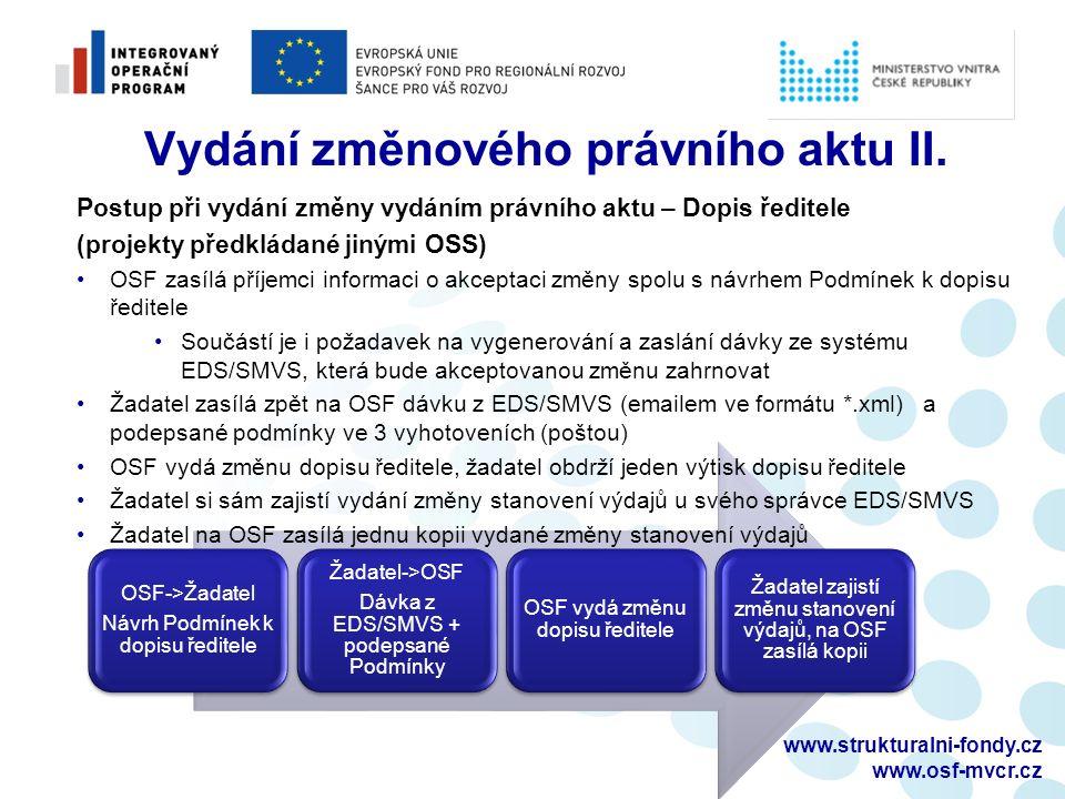 www.strukturalni-fondy.cz www.osf-mvcr.cz OSF->Žadatel Návrh Podmínek k dopisu ředitele Žadatel->OSF Dávka z EDS/SMVS + podepsané Podmínky OSF vydá změnu dopisu ředitele Žadatel zajistí změnu stanovení výdajů, na OSF zasílá kopii Vydání změnového právního aktu II.