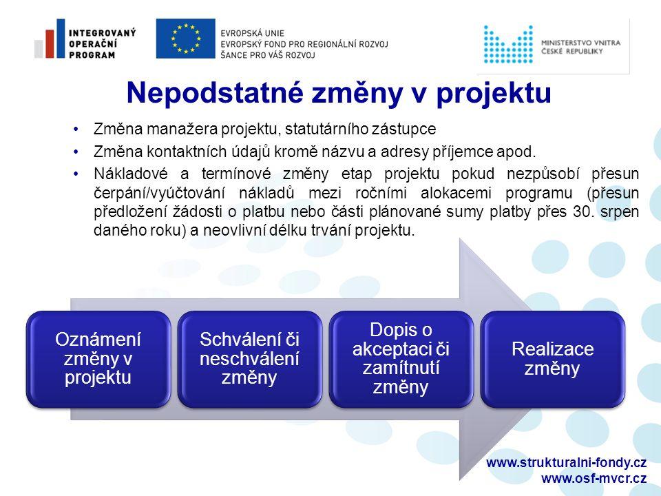 www.strukturalni-fondy.cz www.osf-mvcr.cz Nepodstatné změny v projektu Změna manažera projektu, statutárního zástupce Změna kontaktních údajů kromě ná
