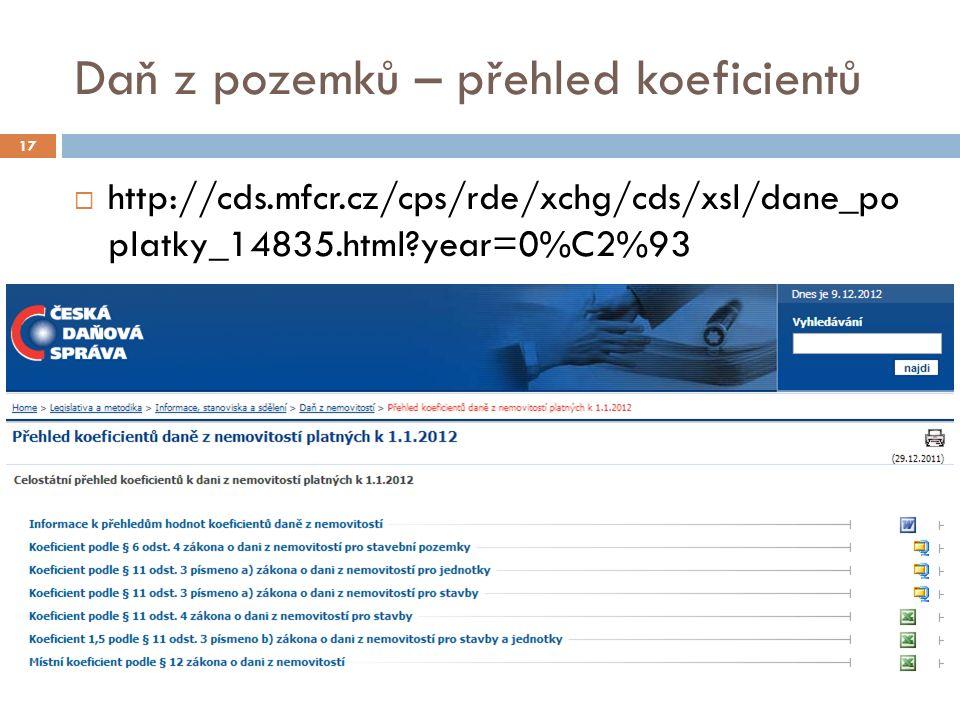 Daň z pozemků – přehled koeficientů 17  http://cds.mfcr.cz/cps/rde/xchg/cds/xsl/dane_po platky_14835.html?year=0%C2%93